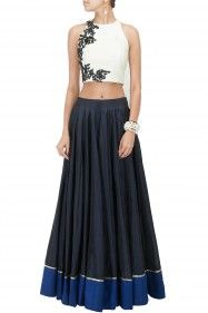 Ridhi Mehra Ivory textured crop top with black floral detailing Product Code - RMC3T0414C12 Price - $ 150