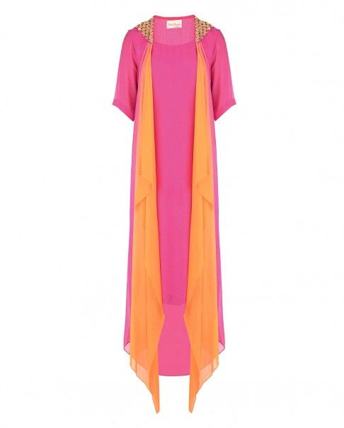 Raspberry Pink and Orange Dress with Accentuated Shoulders