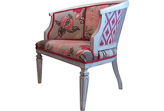 Vintage Modern Chic Cane Barrel Side Chair Ikat Floral