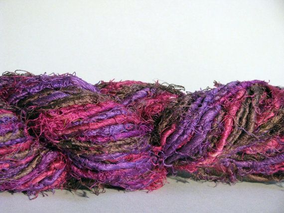 recycled handspun sari silk yarn in color orchid by mibolkossek, Ft3400.00