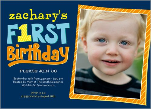 Year Of Firsts Boy First Birthday Invitation