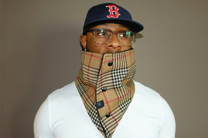 """""""THE BERES""""  Traditional Mens Cowl in Burberry like Fabric Outer with Black Micro Non-pilling  Fleece Inner"""