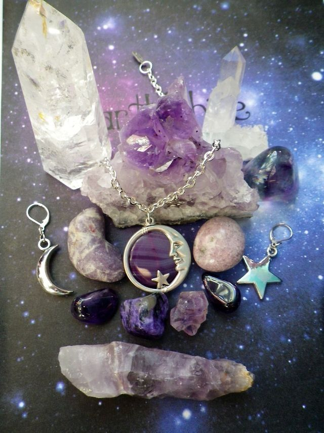 Tumblr: Crystals, Moon, First Tattoo, Practice Magic, Purple, Charms, Witch, Hippie Stuff, Stones