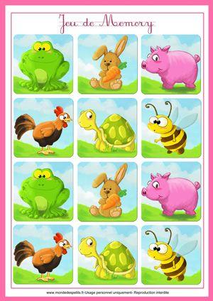 Jeu de memory des animaux à imprimer 2