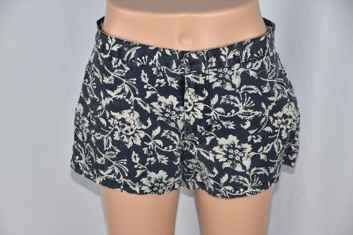 14.52$  Watch here - http://vikku.justgood.pw/vig/item.php?t=o4y2zon8527 - Abercrombie & Fitch Womens 2 Blue Ivory Flower Print Casual Shorts Summer Short 14.52$