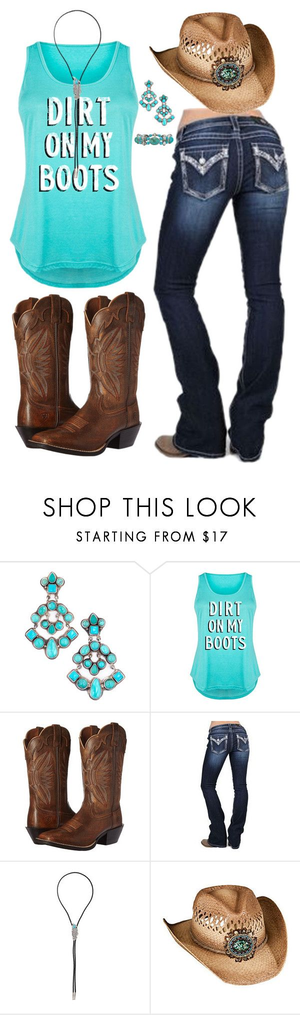 """Got a little dirt on my boots..."" by haybelle0207 ❤ liked on Polyvore featuring LC Trendz, Ariat, Miss Me, M&F Western, Overland Sheepskin Co., Avon, Boots, western and plus size clothing"