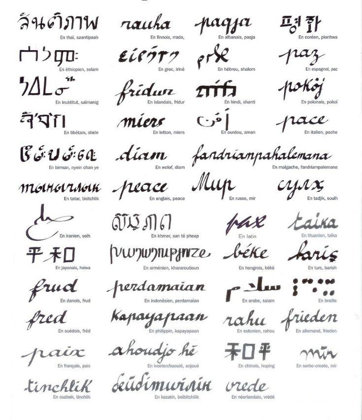 Le mot PAIX en quarante sept langues: par Clara Halter