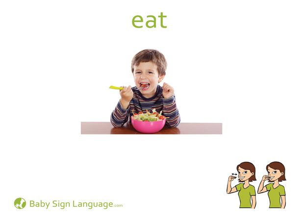 eat baby sign language flash card this website has