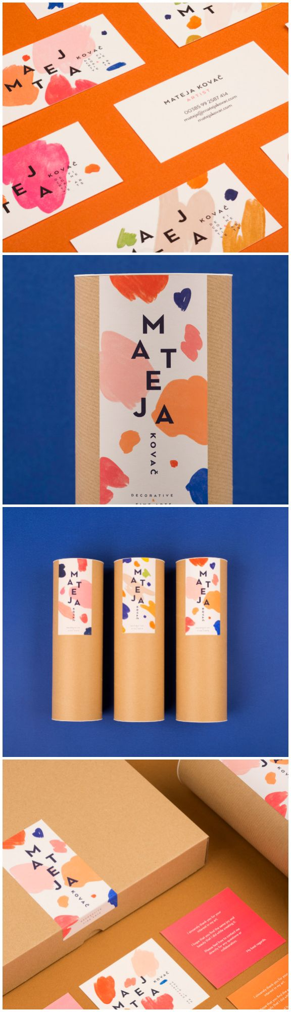 "Mireldy Design Studio - Mateja Kovač #Branding #packaging  ""We found inspiration for her new visual identity in her gestural strokes and the playful color palette."""