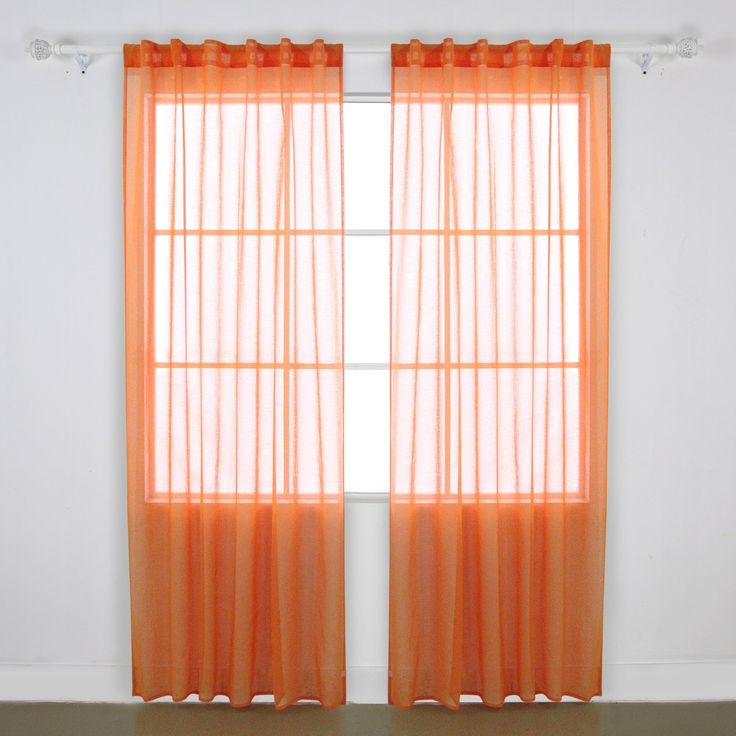 Deconovo Linen Look Rod Pocket Voile Sheer Drapes Sheer Panel Curtains for Kids Room 52W x 95L Orange 2 Drapes >>> Instant Savings available here : Nursery Decor