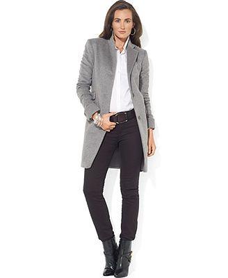 Lauren Ralph Lauren Coat, Single-Breasted Wool-Blend Walker