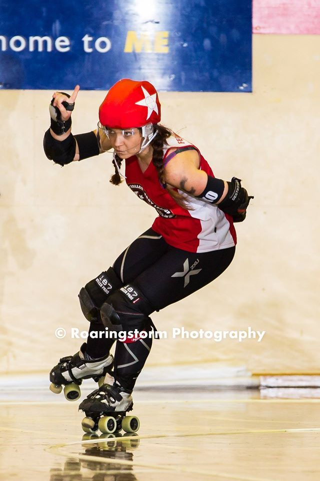 I skate on our representative team, the Snipers, at Sydney Roller Derby League. That was my first time jamming for them. I skate in a BAUER hockey helmet and with a face shield. Feel free to message me and ask me about it or for any roller derby tips. I deal in lumber in plaid.   Follow Feisty Cuffs at: www.facebook.com/FeistyCuffs www.twitter.com/feistycuffs www.instagram.com/feistycuffs