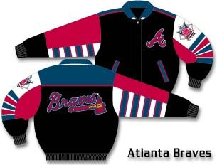 Atlanta Braves Black Black Classic Plonge Leather With Colored Team Logo Jacket From J. H. Design