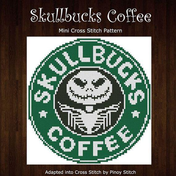 Skullbucks Coffee Humor  Cross Stitch PDF Chart by PinoyStitch
