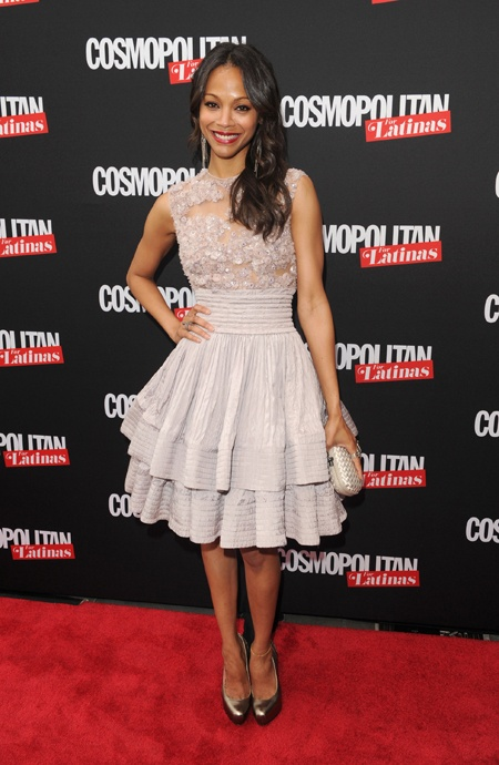 Zoe Saldana attends the Cosmopolitan for Latina's Premiere Issue Party in a Elie Saab lavender cocktail dress with sheer embellished neckline and tiered skirt detail from the Fall 2009 Haute Couture collection.Tiered Skirts, Cocktails Dresses, Elie Saab, Zoesaldana, Red Carpets, Couture Collection, Zoe Saldana, Cocktail Dresses, Haute Couture
