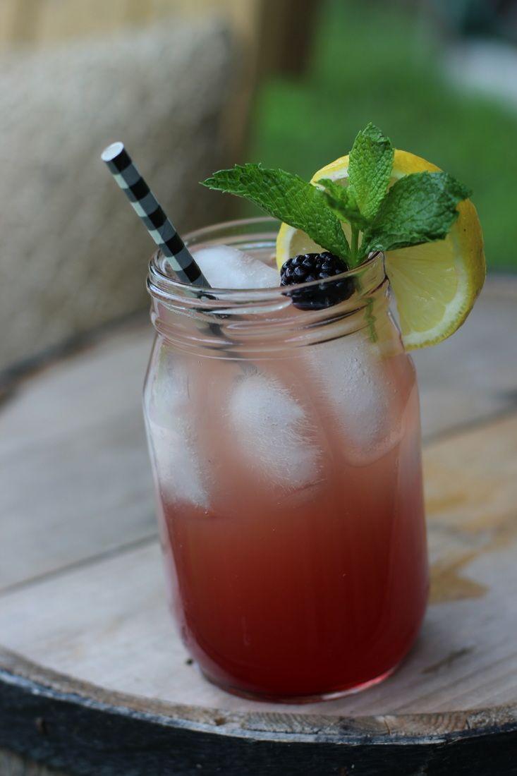 Blackberry Bourbon Lemonade 2 oz Jim Beam Bourbon 3 oz Lemonade .5 oz of Blackberry Monin Syrup Shake & Pour Garnish with Lemon Wheel, Blackberries, & Mint Sprig Enjoy! 