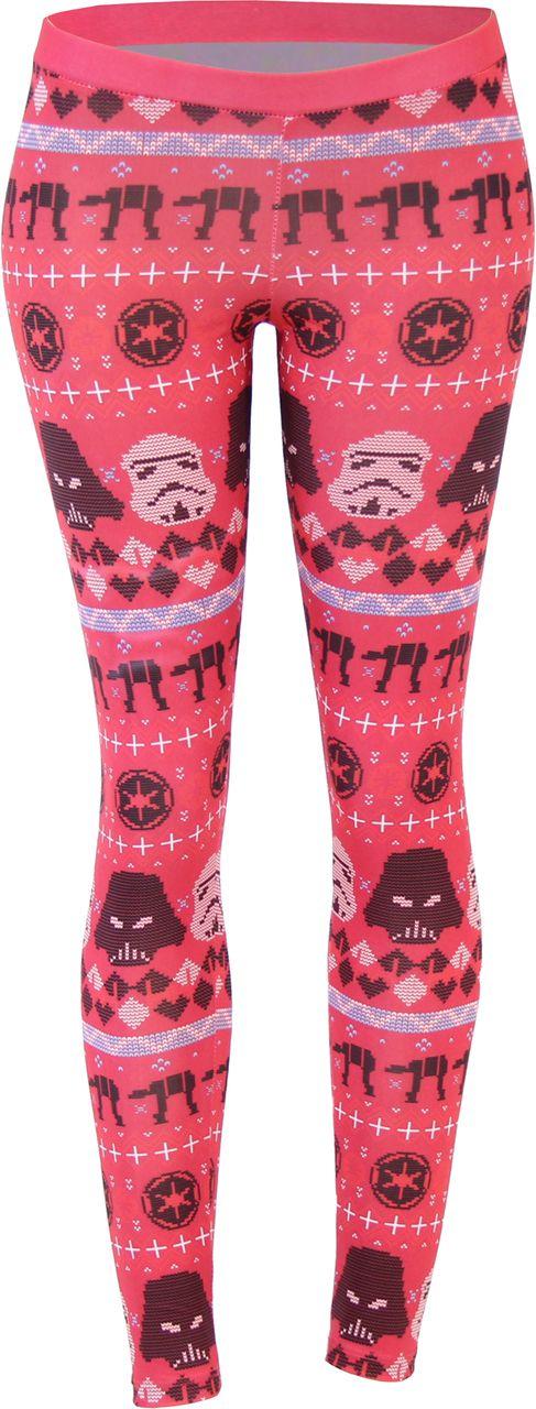 Disney Star Wars Ugly Christmas Pattern Red Leggings