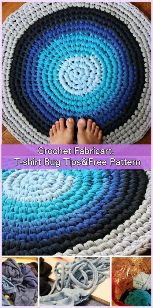 Crochet Recycled Old T-shirts Rug Free Pattern