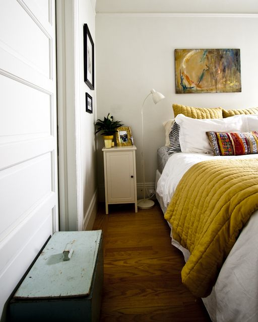 I want to do a mustard blanket/throw like this over a white duvet. Possibly with grey/mustard patterned sheets of some kind.