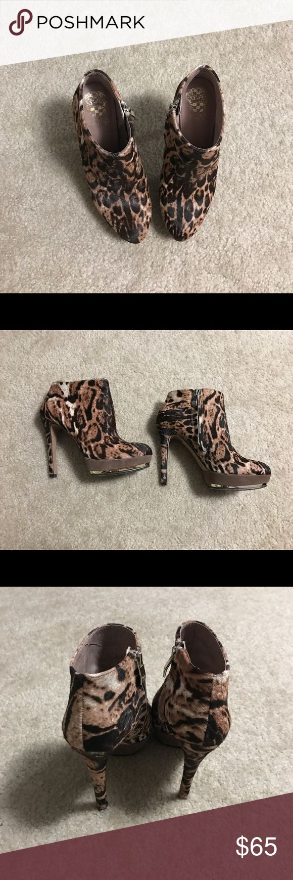 Vince Camuto cow hair fur ankle booties. 5B. Worn only a few times. Hate to see these go since they're a rare find but I know I probably won't wear them much. Vince Camuto Shoes Ankle Boots & Booties