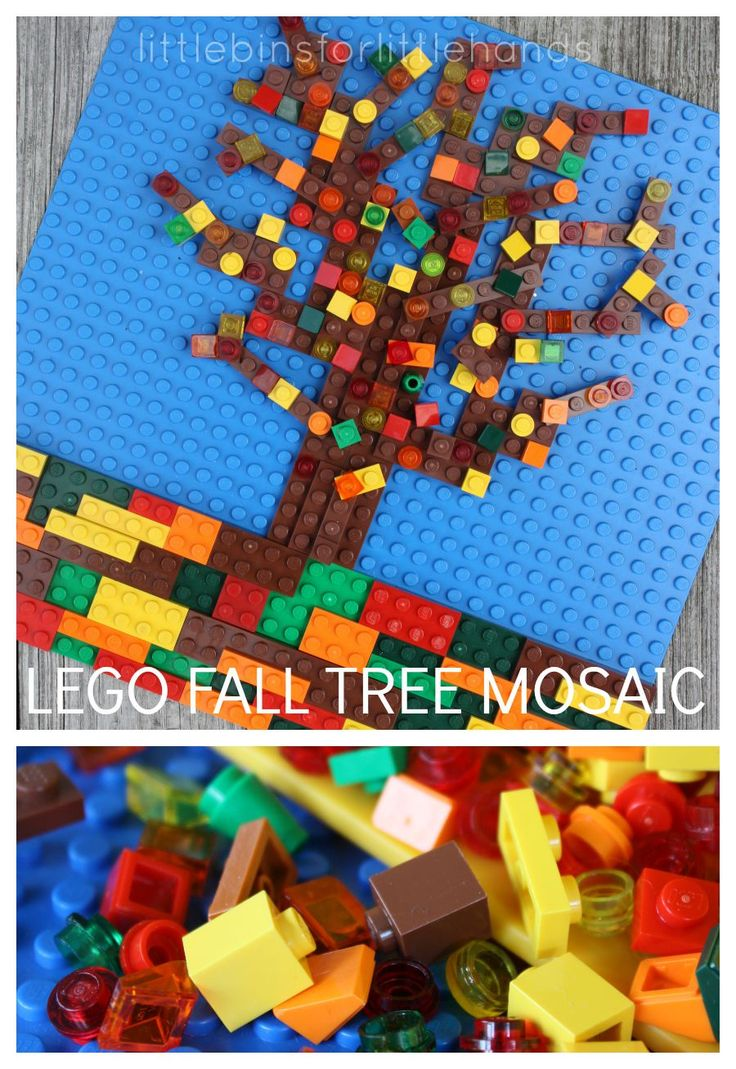 LEGO Fall Tree Mosaic STEAM Activity for Kids. Explore the seasons with creative mosaics.