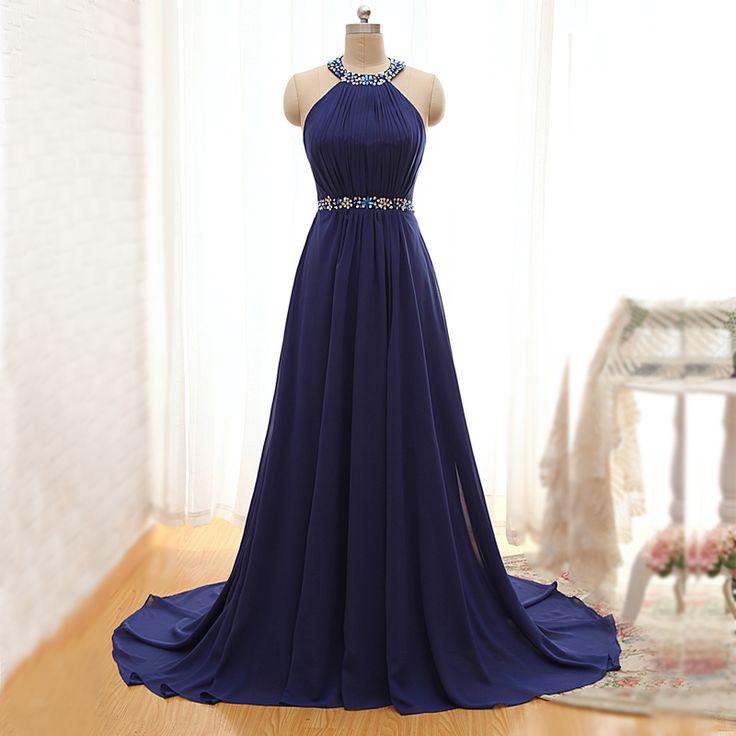 Rhinestone Trimmed Halter Neckline Sexy Back Floor Length Sleeveless A Line Party Dresses