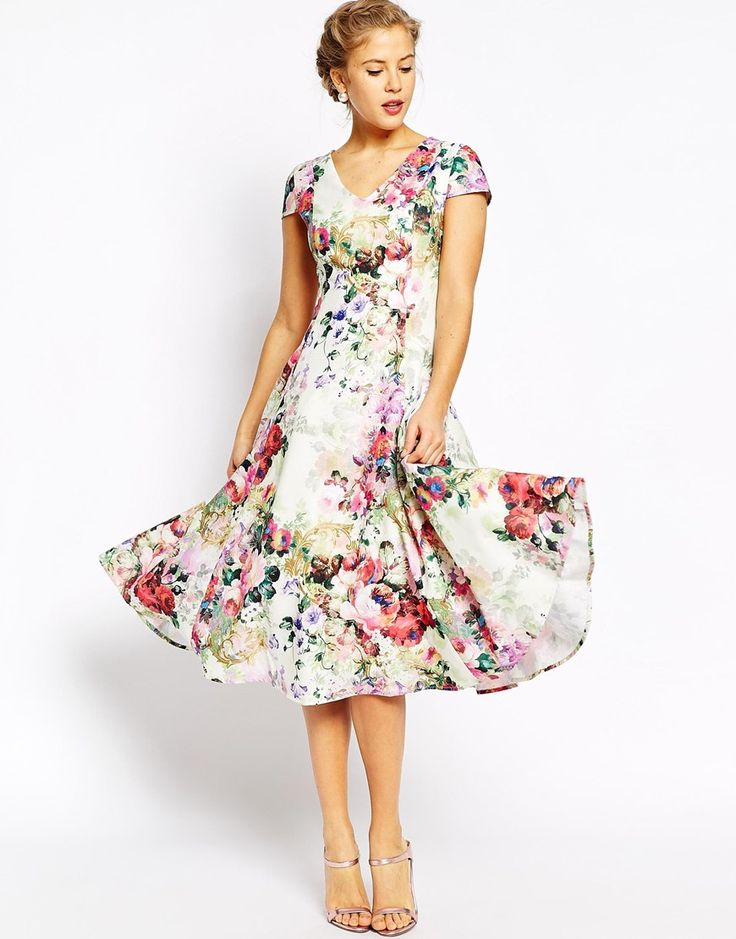 Image 1 of True Decadence Fit and Flare Full Skater Dress In Allover Floral