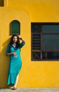 Long Blue Kurti. Mahira Khan Photo Shoot for Daily Times