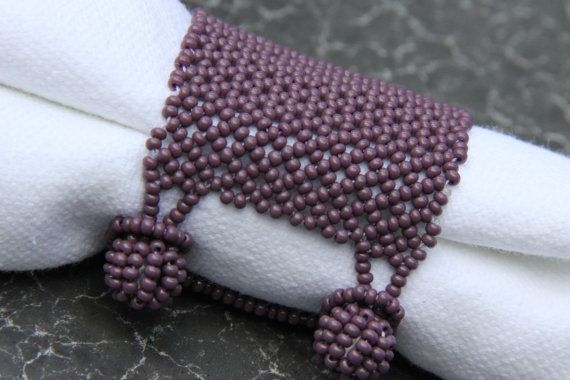 Beautiful Handmade Lavender Beaded Cuff Napkin Ring by Artemateria