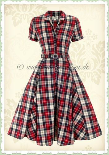 Collectif 40er Jahre Vintage Karo Tartan Kleid - Caterina Sherwood - Rot