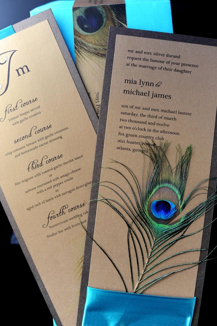 Peacock wedding invitation suite Diana Escobar 3024