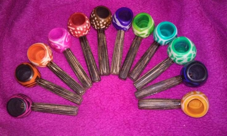 10 x Lot Small Wooden Tobacco Smoking Colorful Party Pipes Natural Tagua Bowl