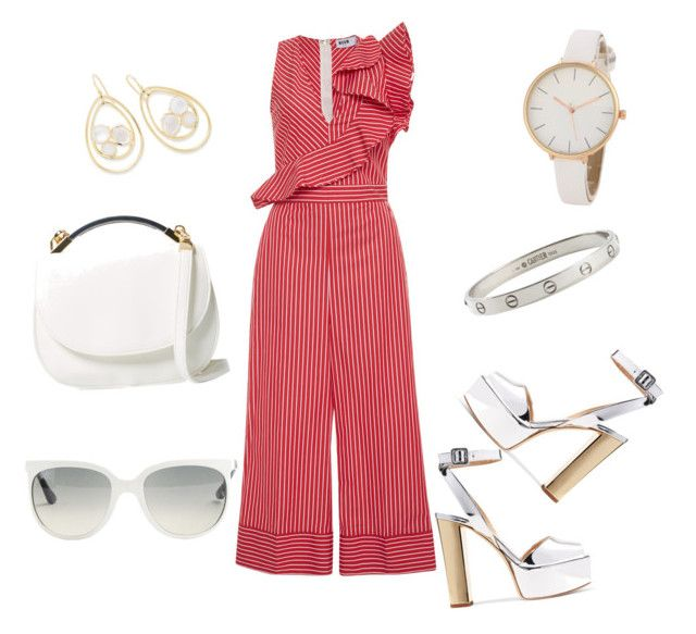 """""""Red 70s"""" by kristell-mayorga on Polyvore featuring MSGM, Giuseppe Zanotti, Ray-Ban, Cynthia Rowley, Cartier and Ippolita"""