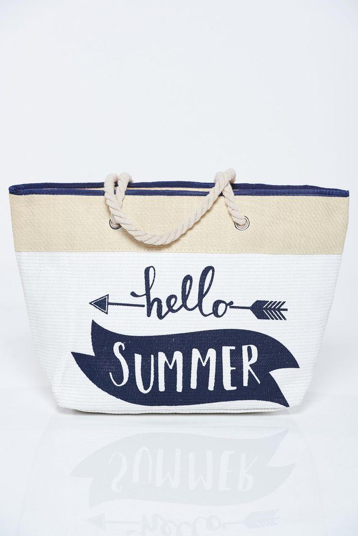 Comanda online, Geanta dama de plaja alba cu imprimeuri cu scris. Articole masurate, calitate garantata!
