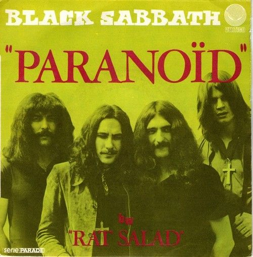 Black Sabbath / Paranoid single cover art, 1970.