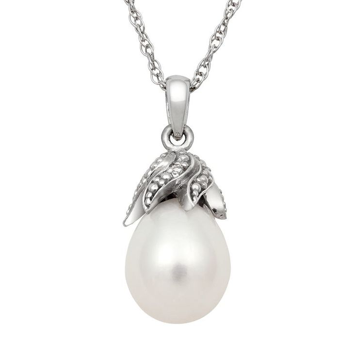 Sterling Silver Freshwater Cultured Pearl and Diamond Accent Pendant, Women's, White