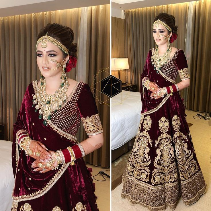 "10.4k Likes, 61 Comments - AMRIT KAUR (@amritkaur_artistry) on Instagram: ""She to me is an impressive manifestation of beauty, deep brown eyes , maroon lehenga carefully…"""