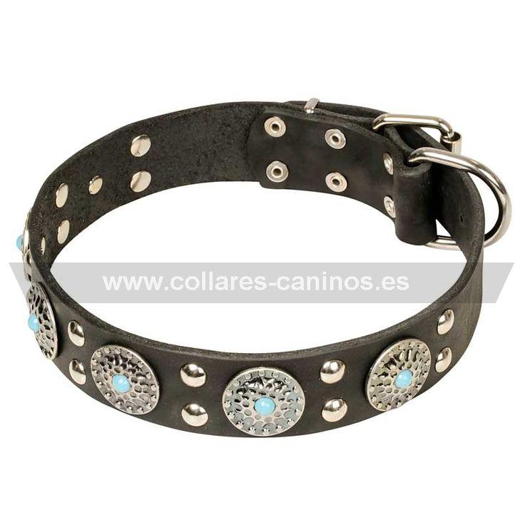 """collar#perro#cuero Collar perro cuero """"Blue Ices"""" artesanal con piedras - > 53,46 €"""