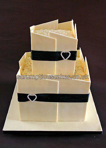 White Chocolate Panels Wedding Cake
