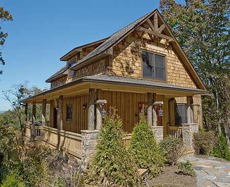 Plan w18743ck vacation mountain sloping lot narrow lot photo gallery cottage house plans Rustic home architecture