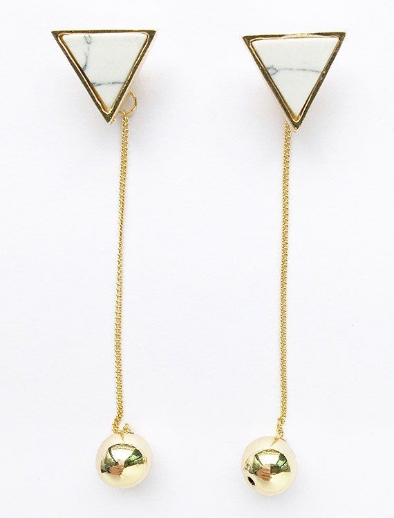 Marble Triangle Drip Statement Long Earrings