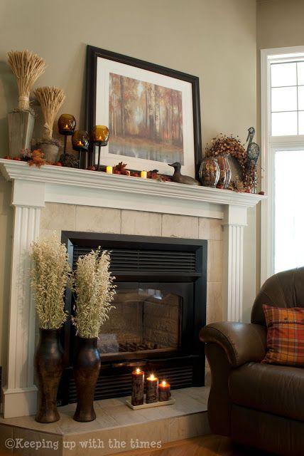 Fall Mantle Decor Idea | Keeping Up with the Times. I like the oats on the vases at the base.