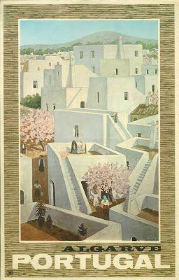 Açoteias e amendoeiras em flor. Cartaz promocional do Algarve, 1960-70.