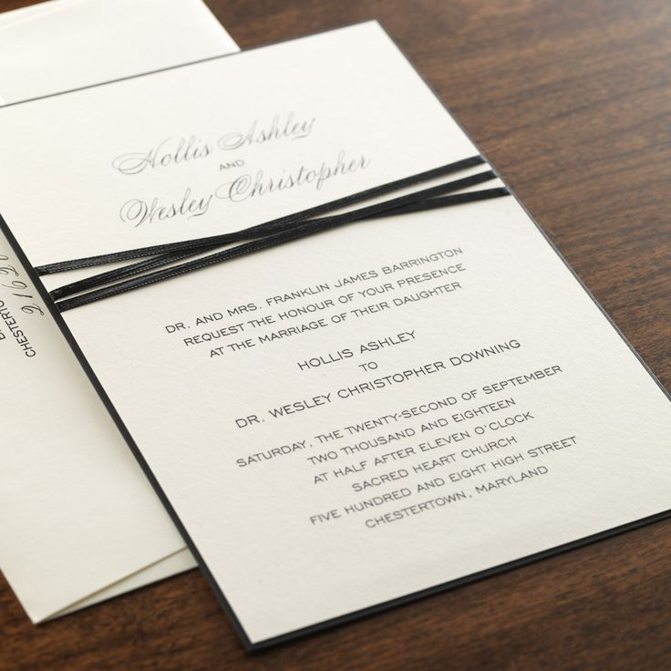 wedding invitation tied with ribbon%0A Eon Wedding Invitation  Elegantly triplewrapped in a slender   doublefaced black satin ribbon  this vertical cream invitation is mounted  on a Jet black