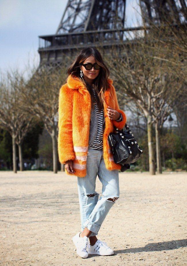 Fake Felljacke kombinieren: Fashion-Statement in Knallorange