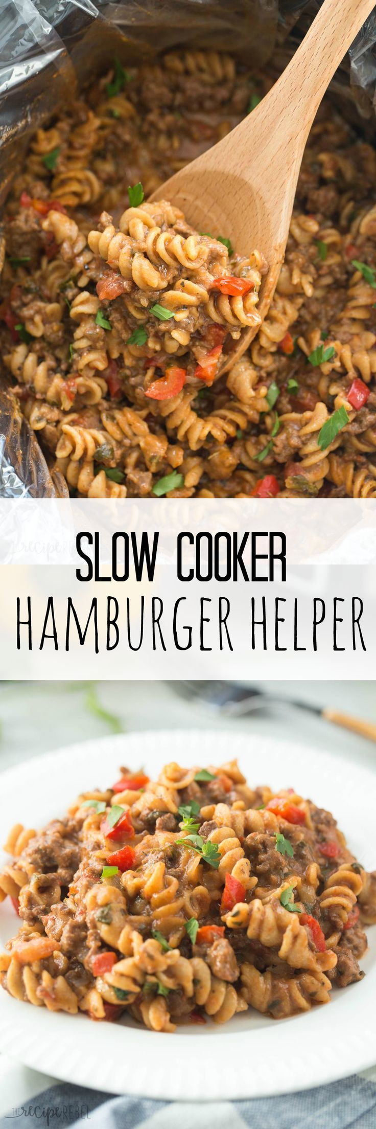 A healthier, homemade version of Hamburger Helper made completely in the slow cooker — yes, even the pasta! (And no, it's not mushy and overcooked!)