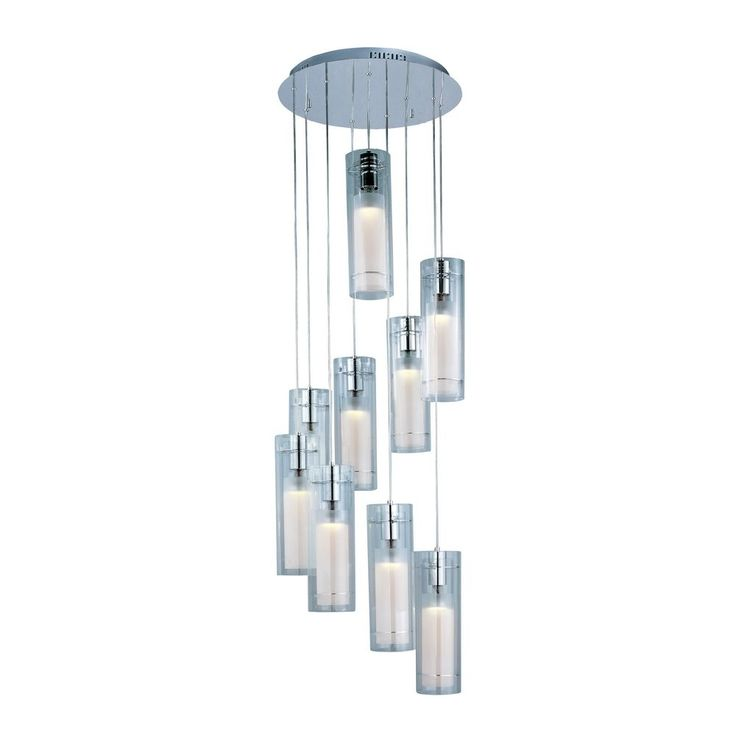 ET2 Lighting Multi-Light Pendant with Nine Cylinder Glass Shades E22204-10