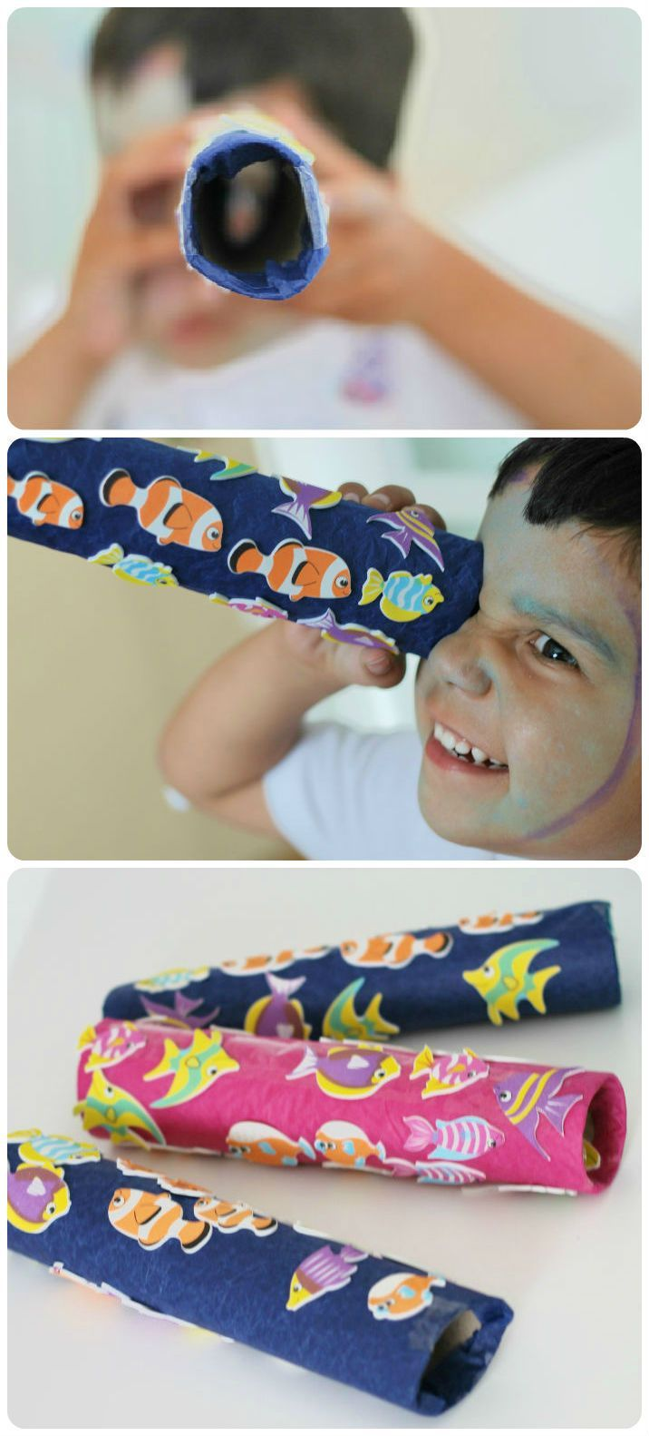 Make a Telescope Craft - Easy summer fun and mess free too. With a tropical fish theme