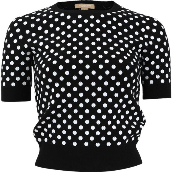 Michael Kors Embroidered Polka Dot Knit Top (€1.125) ❤ liked on Polyvore featuring tops, pullover top, polka dot tops, sweater pullover, knit pullover and crew neck tops