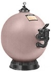 Automatic air relief purges any trapped air during operation of the filter system. Unitized, corrosion-proof, spherical filter tank molded of rugged, colorfast polymeric material for maximum strength and longer life.